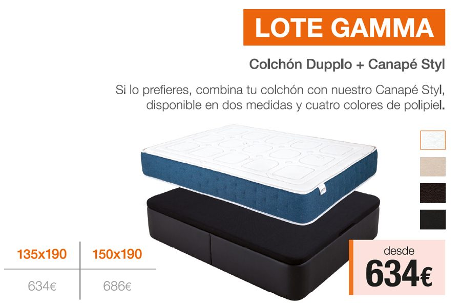 Lote Gamma – Colchón + Canapé · ¡Ahora Desde 634€!