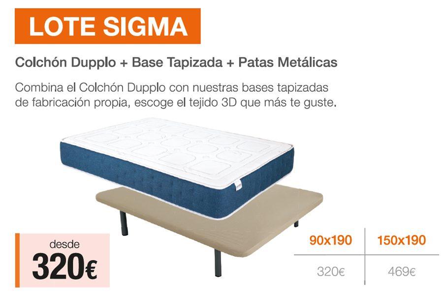 Lote Sigma – Colchón + Base + Patas · ¡Ahora Desde 320€!